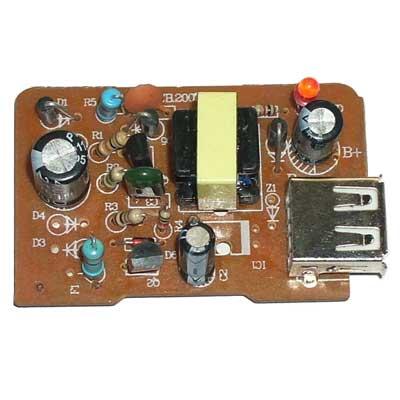 二极管→三极管→电容→变压器→ usb座  装好的成品电路板如下,不